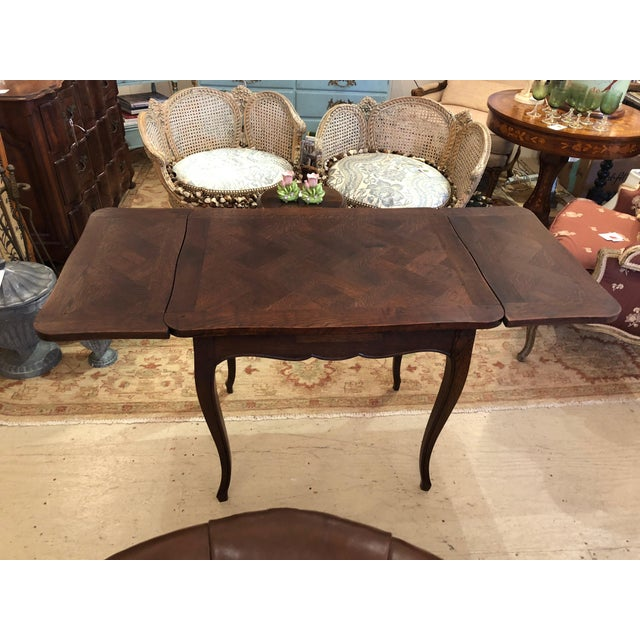 French Country Small Parquetry Walnut Refractory Table For Sale - Image 11 of 11