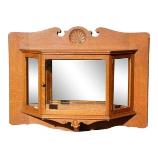 Antique Arts & Crafts Oak Display Vitrine Hanging Wall Cabinet Mirrored Curio For Sale
