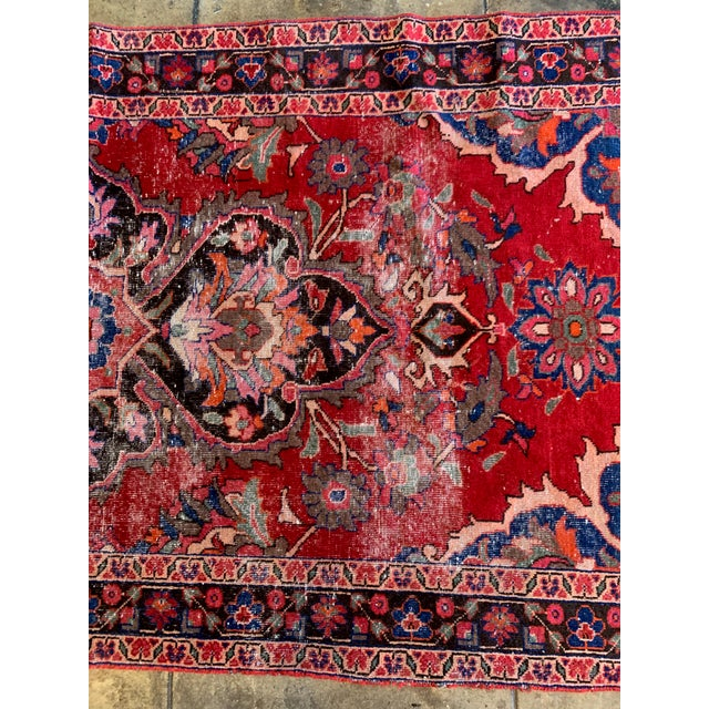 """1940s Rich Tones Vintage Persian Area Rug - 9' 8.5"""" X 5' For Sale - Image 5 of 7"""