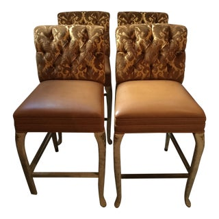 Custom Made Louis XV Style Bar Stools- Set of 4 For Sale