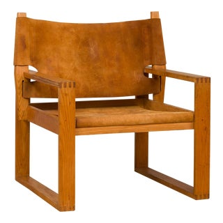 Mid-Century Modern Svend Fradsen Oak and Leather Safari Chair For Sale