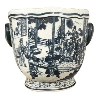 Chinese Blue & White Wine Bucket Planter Chinoiserie