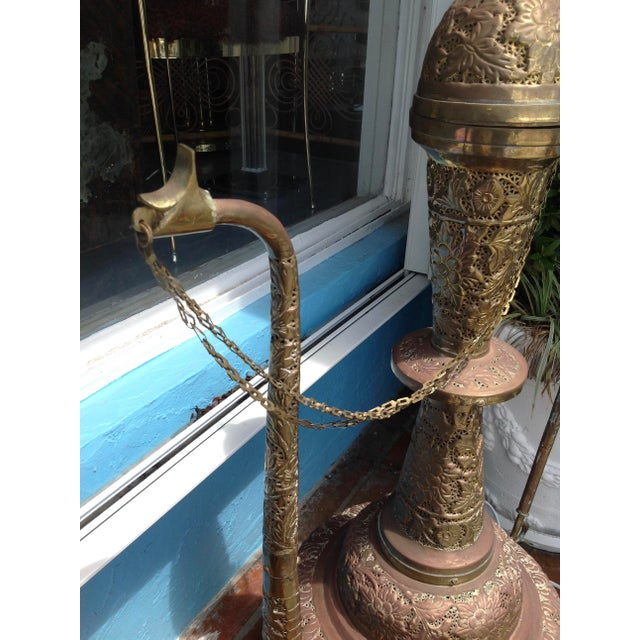 Brass Monumental Pierced Brass Moroccan Ewer Lamp For Sale - Image 7 of 11