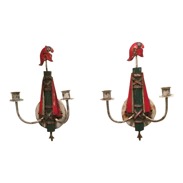 1950s Italian Shabby Chic Sconces - a Pair For Sale
