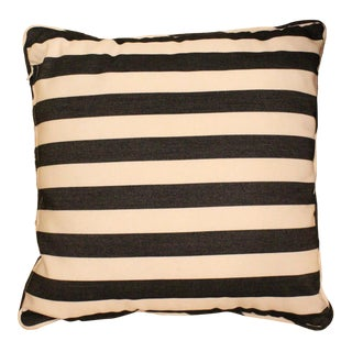 Modern Black & White Striped Pillow For Sale