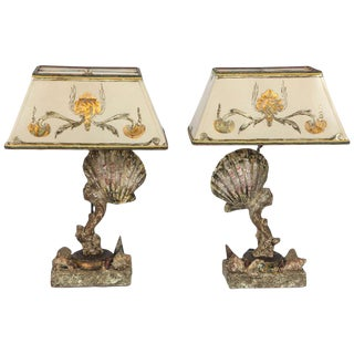 20th C. Handmade Sea Shell Lamps - a Pair For Sale