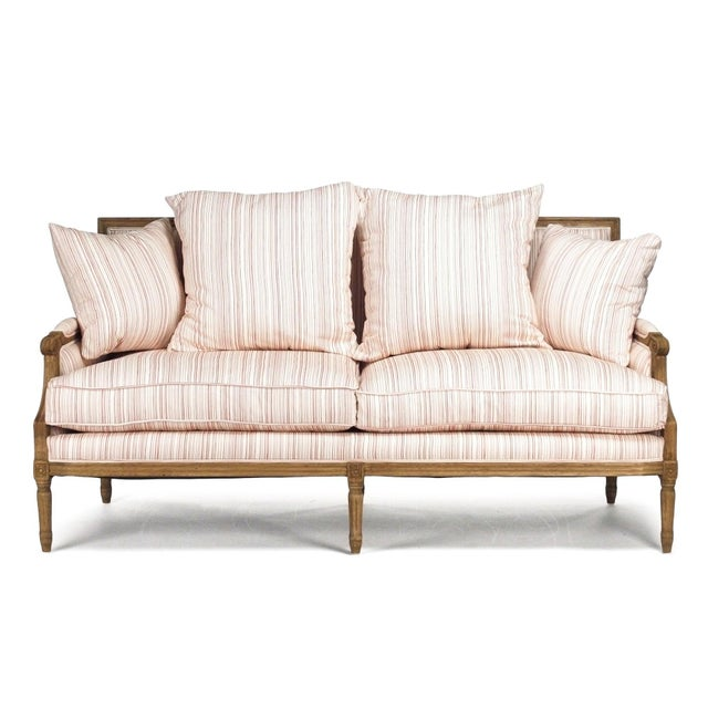 French Country Audley Sofa in White Cotton with Red Stripes For Sale - Image 3 of 6