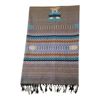 1950s Vintage Guatemalan Hand Loomed Cotton Throw For Sale