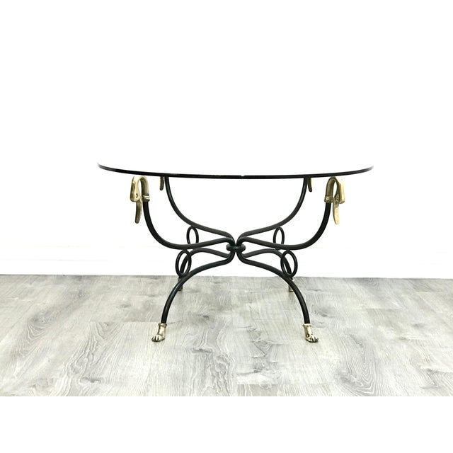 Campaign Hollywood Regency Brass & Iron Glass Top Coffee Table For Sale - Image 3 of 11
