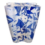 Image of Stories of Italy Nougat Blue Bucket Vase For Sale