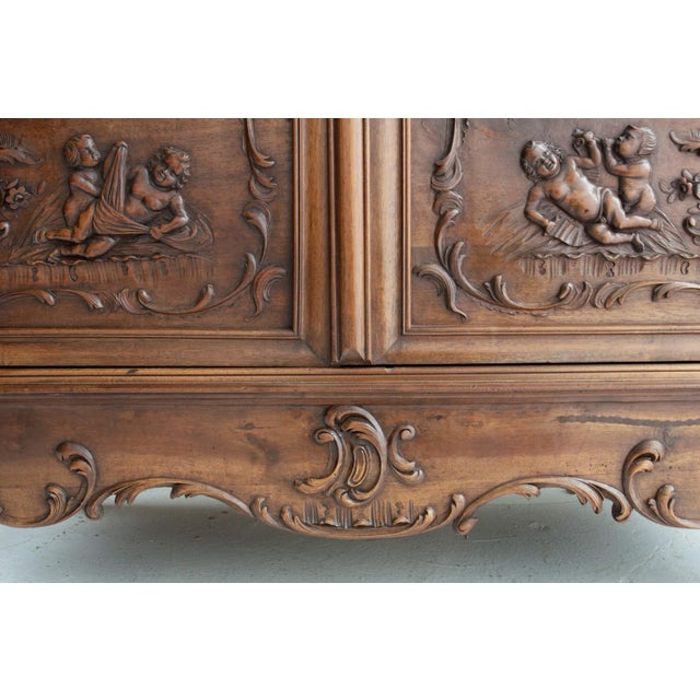 Wood French 19th Century Louis XV Carved Walnut Mirror-Front Armoire For Sale - Image 7 of 10