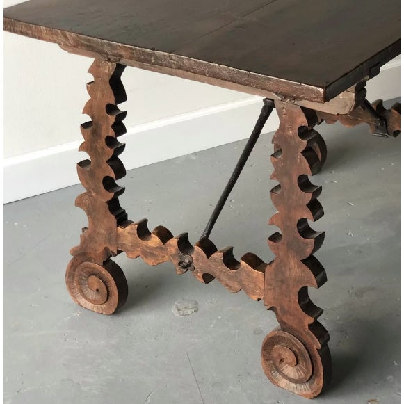 19th C. Spanish Table W/ Iron Stretcher For Sale - Image 4 of 7