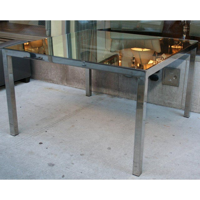 Mid Century Modern Square Dining Table w/ Rectangular Chrome Legs &  Mirrored Top