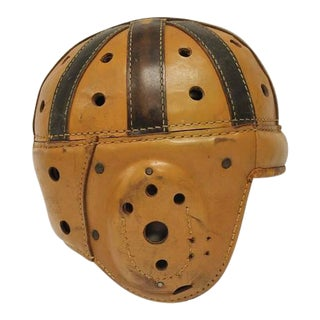 Early 20th C. Antique Spalding Football Leather Helmet For Sale
