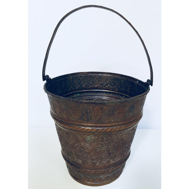 Anglo-Raj Mughal Metal Copper Vessel Bucket For Sale In Los Angeles - Image 6 of 12