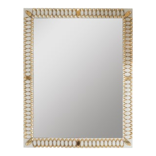 Rectangular Pearl and Grey Glass Mirror For Sale