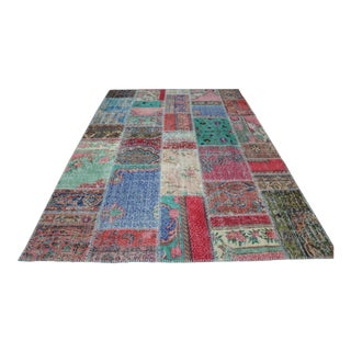 Multicolour Handknotted Vintage Floor Turkish Rug - 6′9″ × 9′10″ For Sale
