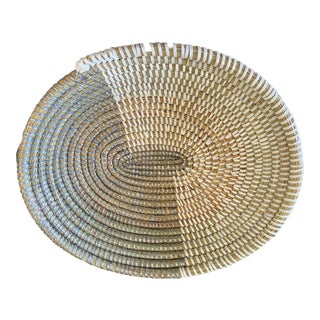 "Handmade Woven Wolof Oval Basket From Senegal 11.75"" W For Sale"