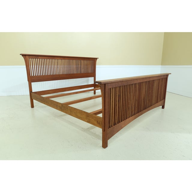 Wood Stickley King Size Mission Cherry Spindle Bed For Sale - Image 7 of 13
