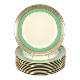 Set of 12 Lenox Green & Ivory Dessert Plates with Silver Overlay Borders, 1920s For Sale