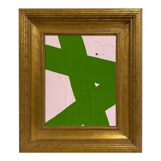 Ron Giusti Mini Abstract Light Pink Kelly Acrylic Painting, Framed For Sale