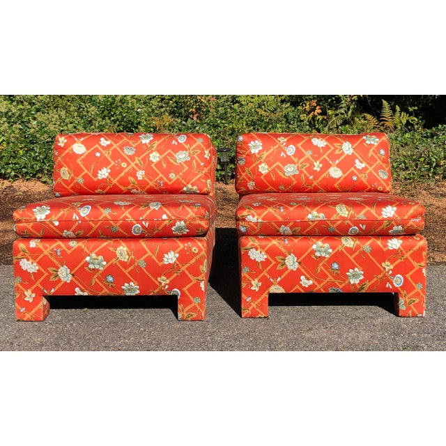1960s Vintage Custom Upholstery Scroll Back Chinoiserie Slipper Chairs- A Pair For Sale - Image 11 of 11