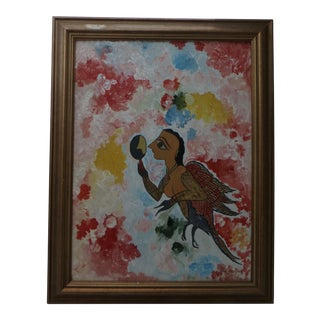 Mid-Century Modern Judaica Folk Art Painting For Sale