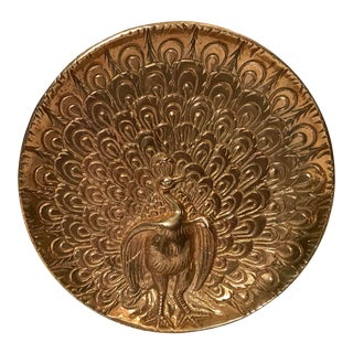 Vintage Brass Embossed Peacock Plate For Sale