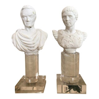 Small Caesar Busts on Square Acrylic Stands - a Pair For Sale