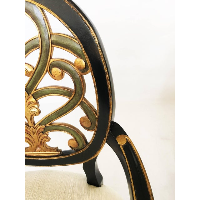 Pair of Elegant Sheraton Style Lacquer and Gilt Carved Armchairs For Sale In Dallas - Image 6 of 9