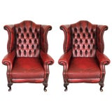 Image of Pair of Hand Dyed Red Leather Wingback Chairs For Sale