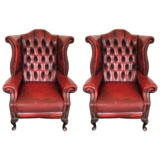 Pair of Hand Dyed Red Leather Wingback Chairs For Sale