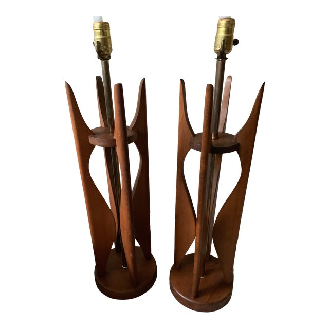 Vintage Sculptural Walnut Lamps Mid Century Modern Danish Pearsall Kagan - a Pair For Sale
