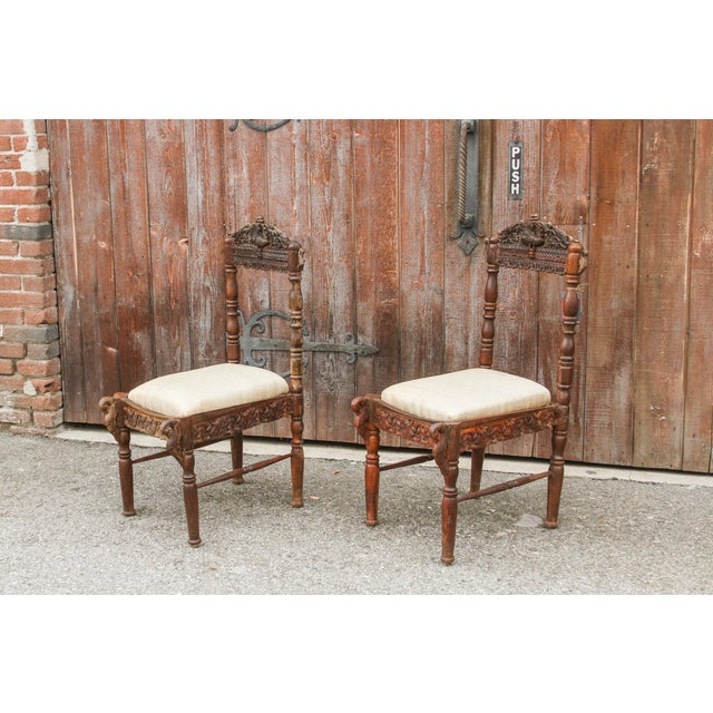 Wood Paired Anglo Indian Peacock Chairs For Sale - Image 7 of 11