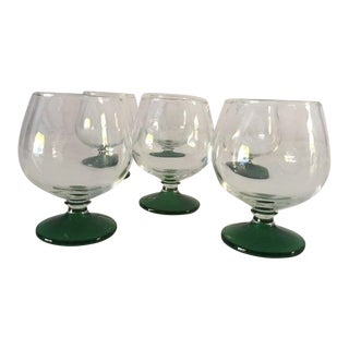 Midcentury Green & Clear Cocktail Glasses S/6 For Sale