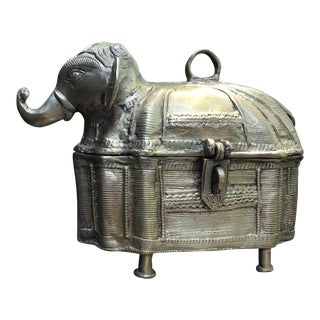 Vintage Brass Elephant Box
