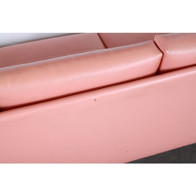 Mid Century Modern Adrian Pearsall for Craft Associates Pink Vinyl & Walnut Sofa For Sale - Image 11 of 13