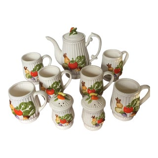 Vintage Vegetables Tea Set With Salt & Pepper Shakers - Set of 9