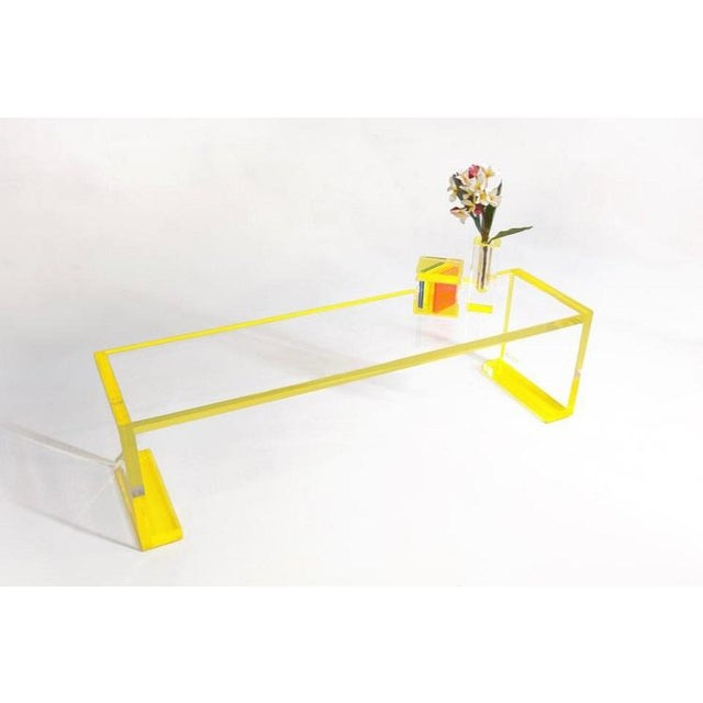 American Yellow-Transparent Lucite Console Table For Sale - Image 3 of 6