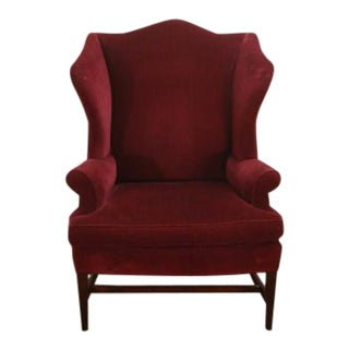 1990s Stickley Williamsburg Mahogany Framed Wingback Chair For Sale