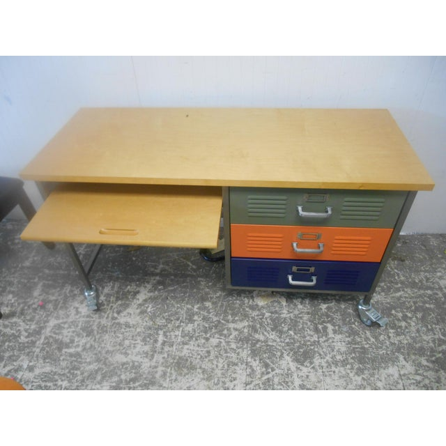 Mid-Century Industrial Writing Desk & Chair - A Pair For Sale - Image 4 of 6