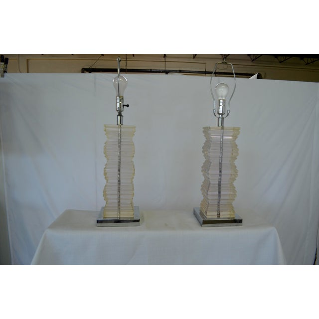 Mid-Century Modern Vintage Lucite Stacked Lamps - A Pair For Sale - Image 3 of 5