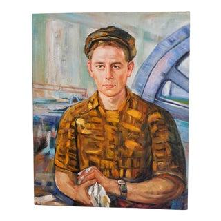 Mid Century Male Oil Portrait