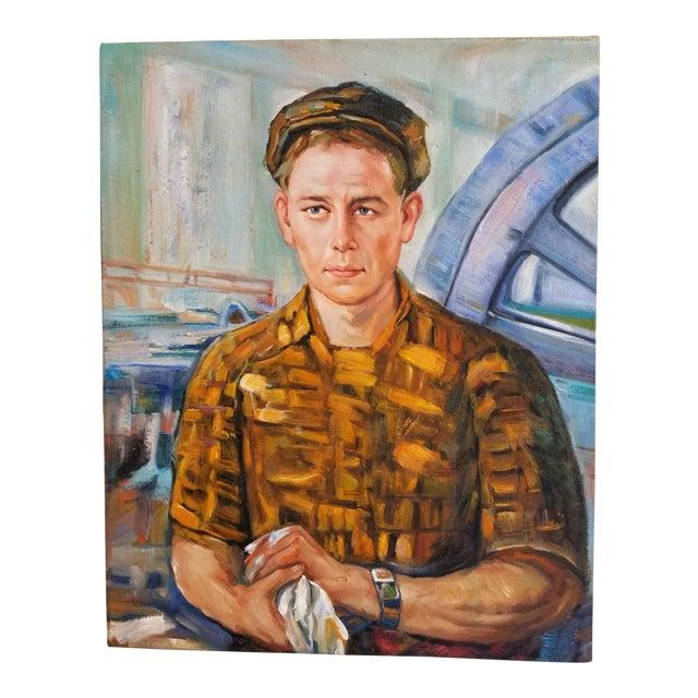 Mid Century Male Oil Portrait For Sale