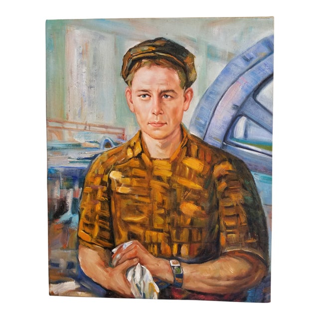 Mid Century Male Oil Portrait - Image 1 of 7