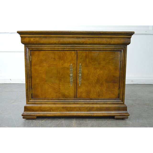 Store Item #: 15182-fwmr Henredon Burl Wood Charles X Collection 2 Door Server Cabinet AGE/COUNTRY OF ORIGIN: Approx 25...