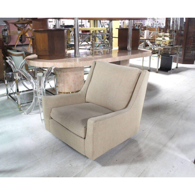 Nice large Harvey Probber lounge chairs on walnut base. Good upholstery condition.