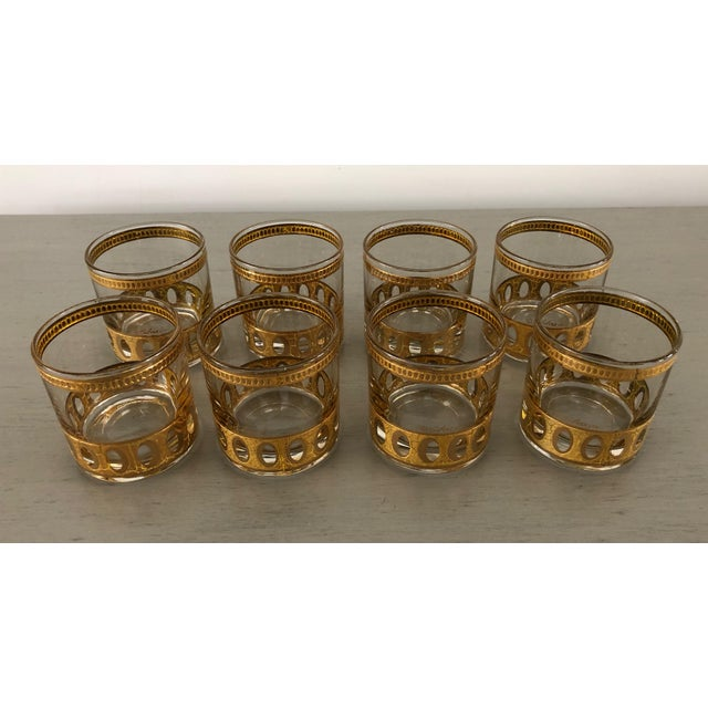 Anitigua 22k Culver Old Fashioned Cocktail Glasses With Vintage Brass Tray - Set of 9 For Sale In Palm Springs - Image 6 of 13