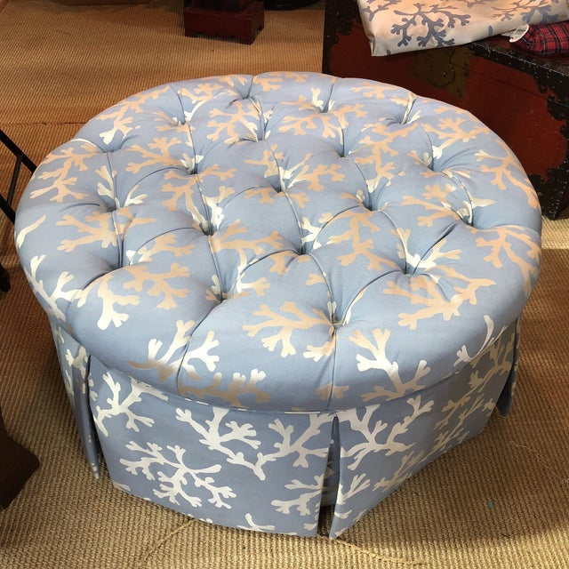 Superb Blue Coral Tufted Ottoman With Skirted Upholstery Beatyapartments Chair Design Images Beatyapartmentscom
