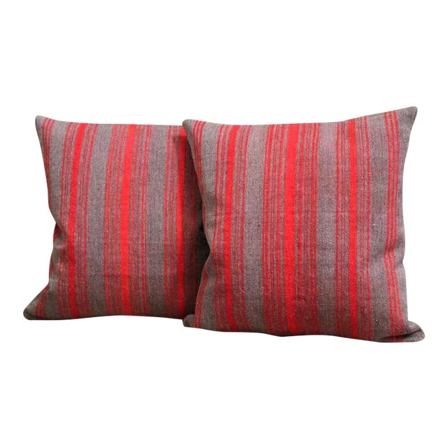 Pair of Late 19th Century Brown and Red Striped Pillows For Sale